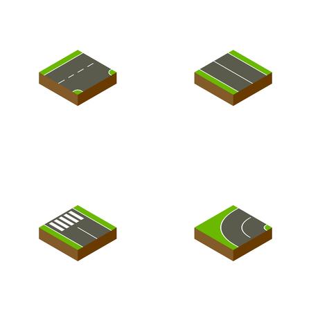 아이소 메트릭 웨이 웨이브, 스트립, 아래 및 다른 벡터 개체를 설정합니다. 또한 아스팔트, 평면, 보행자 요소가 포함됩니다.