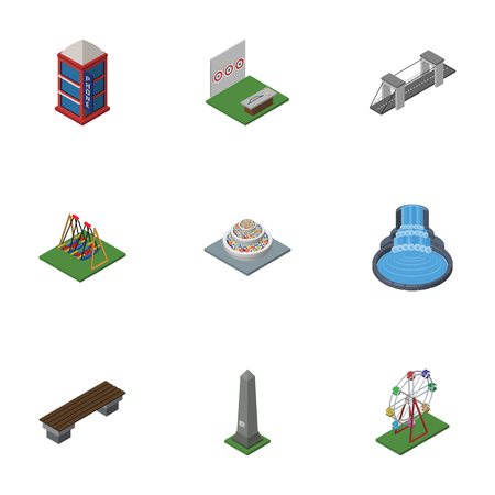 Isometric Urban Set Of Dc Memorial, Aiming Game, Bench And Other Vector Objects. Also Includes Decoration, Seat, Ferris Elements. Illustration