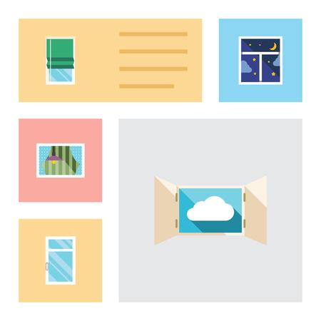 Flache Icon Frame-Set von sauber, Frame, Vorhang und andere Vektor-Objekte. Enthält auch Clean, Window, Night Elements. Standard-Bild - 82024962