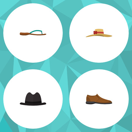 Flat Icon Dress Set Of Elegant Headgear, Male Footware, Beach Sandal Vector Objects. Also Includes Fedora, Hat, Flip Elements.