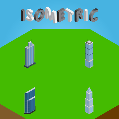 Isometric Construction Set Of Business Center, Exterior, Apartment And Other Vector Objects. Also Includes Center, Cityscape, Residential Elements.
