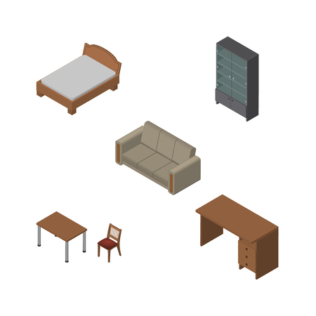 Isometric Furniture Set Of Bedstead, Table, Sideboard And Other Vector Objects. Also Includes Sideboard, Table, Settee Elements.