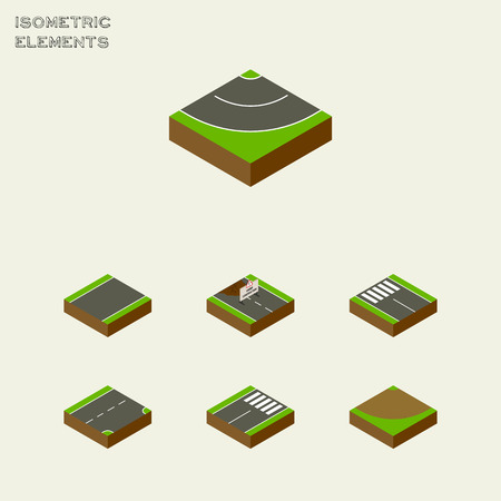 Isometric Way Set Of Repairs, Down, Road And Other Vector Objects. Also Includes Pedestrian, Under, Road Elements.