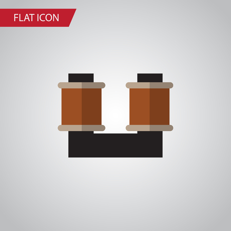 Isolated Spool Flat Icon. Coil Copper Vector Element Can Be Used For Spool, Coil, Copper Design Concept. Illustration