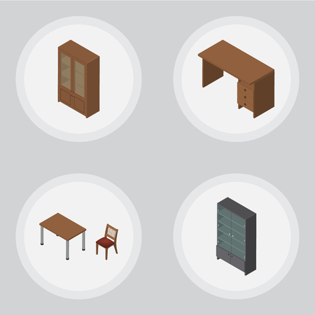 pc case: Isometric Furnishing Set Of Table, Chair, Cabinet And Other Vector Objects. Also Includes Table, Locker, Cabinet Elements. Illustration
