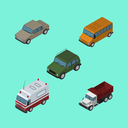 Isometric Car Set Of First-Aid, Freight, Autobus And Other Vector Objects. Also Includes Ambulance, Armored, Aid Elements. Illustration