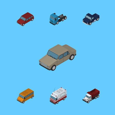 Isometric Automobile Set Of Suv, Autobus, Truck And Other Vector Objects. Also Includes Truck, Pickup, Bus Elements.