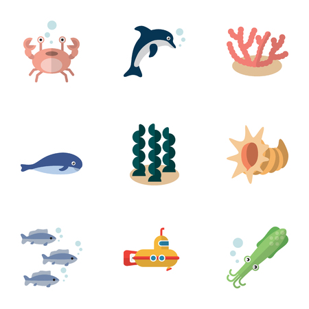 Flat Icon Nature Set Of Alga, Playful Fish, Periscope And Other Vector Objects. Also Includes Algae, Octopus, Lobster Elements. Illustration