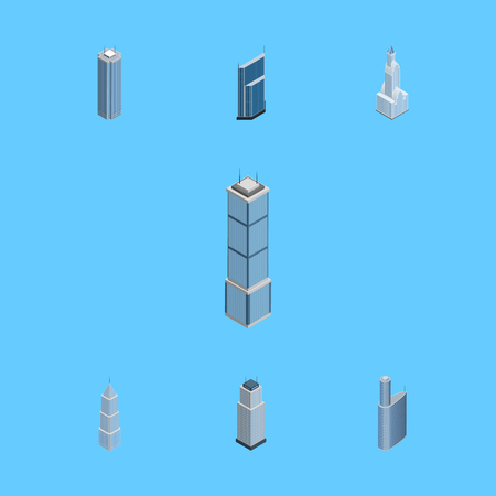 Isometric Building Set Of Cityscape, Apartment, Residential And Other Vector Objects. Also Includes Residential, Tower, Exterior Elements. Illustration