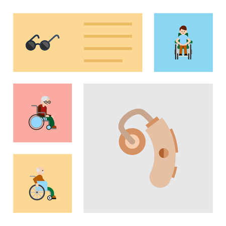 Flat Icon Disabled Set Of Spectacles, Audiology, Handicapped Man Vector Objects. Also Includes Audiology, Sunglasses, Hearing Elements. Illustration