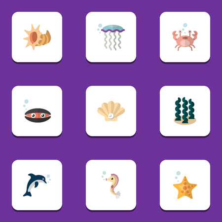 Flat Icon Marine Set Of Sea Star, Conch, Alga And Other Vector Objects. Also Includes Alga, Lobster, Underwater Elements. Illustration