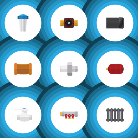 Flat Icon Plumbing Set Of Water Filter, Tube, Pipe And Other Vector Objects. Also Includes Tank, Radiator, Industry Elements. Illustration