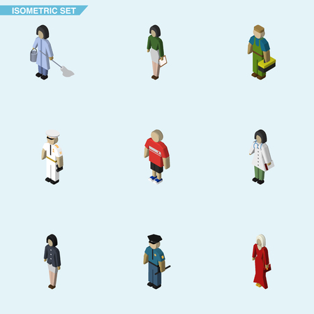 Isometric Human Set Of Girl, Doctor, Guy And Other Vector Objects. Also Includes Housemaid, Girl, Worker Elements. Illustration