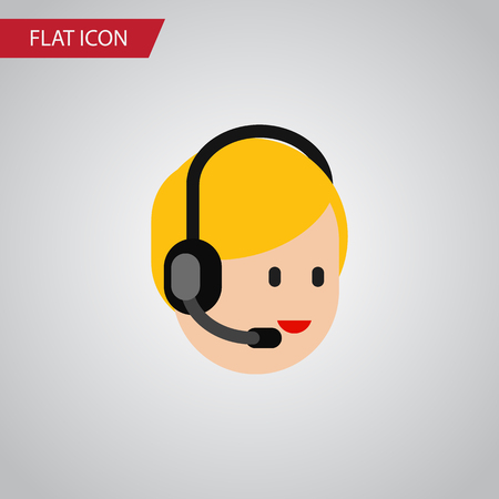 narrator: Isolated Service Flat Icon. Call Center Vector Element Can Be Used For Call, Center, Service Design Concept. Illustration