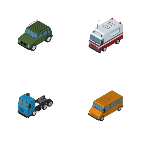 Isometric Car Set Of Armored, Truck, Autobus And Other Vector Objects. Also Includes Ambulance, Truck, Suv Elements. Illustration