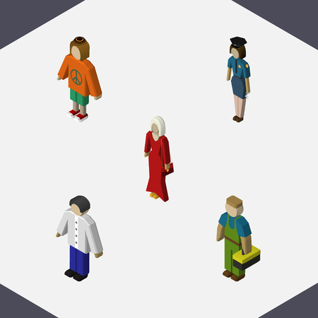 Isometric People Set Of Lady, Female, Plumber And Other Vector Objects. Also Includes Lady, Officer, Plumber Elements. Illustration