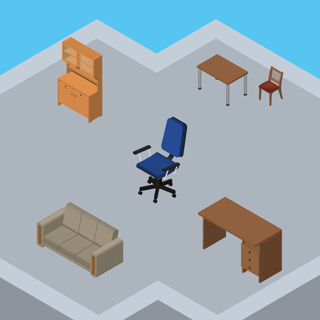 Isometric Design Set Of Cupboard, Couch, Office And Other Vector Objects. Also Includes Desk, Closet, Drawer Elements.