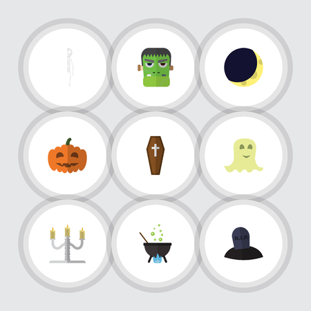 Flat Icon Festival Set Of Magic, Gourd, Tomb And Other Vector Objects. Also Includes Bones, Dead, Crescent Elements.