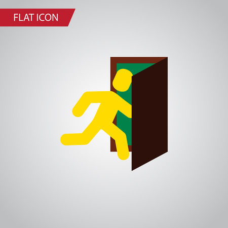 Isolated Evacuation Flat Icon. Open Door Vector Element Can Be Used For Evacuation, Exit, Door Design Concept. Illustration