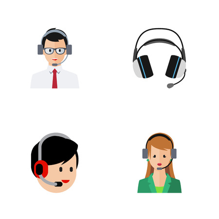 earpiece: Flat Icon Telemarketing Set Of Help, Earphone, Secretary And Other Vector Objects. Also Includes Help, Secretary, Earphone Elements. Illustration