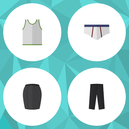 trouser: Flat Icon Garment Set Of Stylish Apparel, Pants, Underclothes And Other Vector Objects. Also Includes Leggings, Singlet, Briefs Elements.