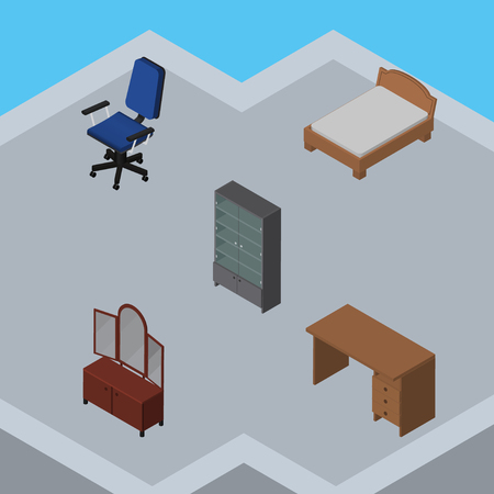 bedstead: Isometric Design Set Of Sideboard, Table, Office And Other Vector Objects. Also Includes Desk, Sideboard, Furniture Elements.