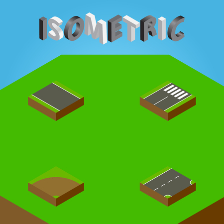 Isometric Road Set Of Sand, Footer, Without Strip Vector Objects. Also Includes Turn, Pedestrian, Unilateral Elements.