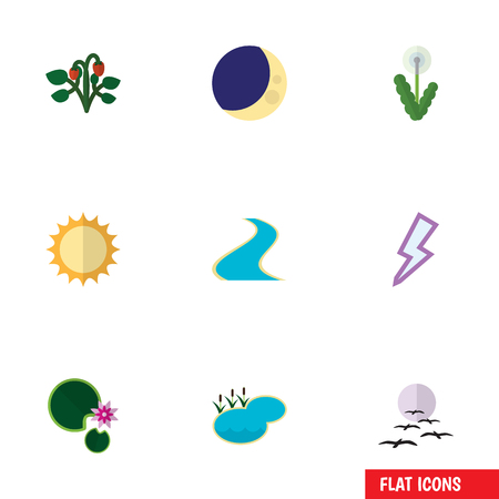 Flat Icon Bio Set Of Tributary, Pond, Floral And Other Vector Objects. Also Includes Flower, Berry, Sunshine Elements.