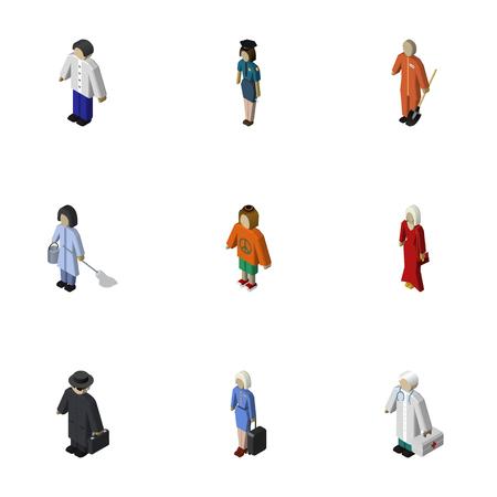 等尺性の人々 は、家政婦、メディック、警官および他のベクトル オブジェクトのセット。女の子、男の子、ヒッピーの要素も含まれています。  イラスト・ベクター素材