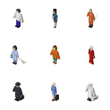 mujer policia: Isometric People Set Of Housemaid, Medic, Policewoman And Other Vector Objects. Also Includes Girl, Boy, Hippie Elements.