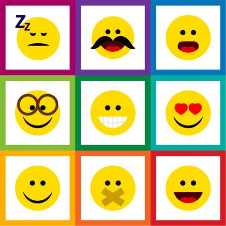 不思議、眠り、笑い、他のベクトル オブジェクトのフラット アイコン顔セット。眠っている、眼鏡要素眠っている、含まれています。