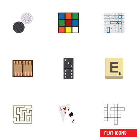 Flat Icon Play Set Of Ace, Labyrinth, Chequer And Other Vector Objects. Also Includes Backgammon, Labyrinth, Puzzle Elements. Illustration