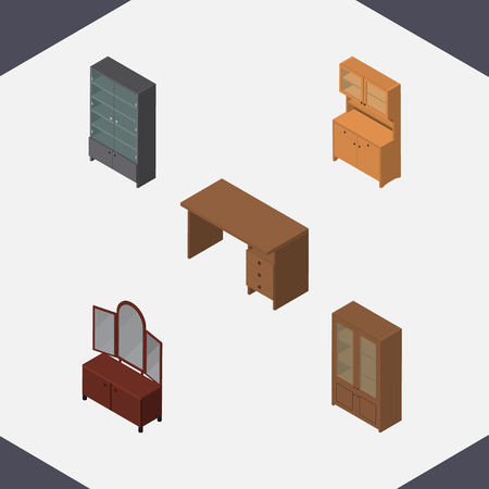 Isometric Furniture Set Of Sideboard, Drawer, Cupboard And Other Vector Objects. Also Includes Cabinet, Desk, Mirror Elements. Illustration
