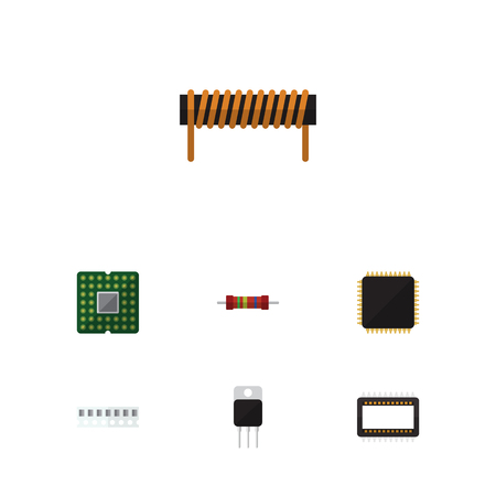 Flat Icon Technology Set Of Bobbin, Cpu, Memory And Other Vector Objects. Also Includes Motherboard, Cpu, Microprocessor Elements. Illustration