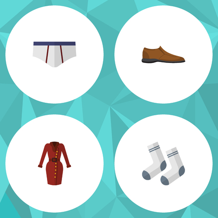 Flat Icon Clothes Set Of Clothes, Male Footware, Foot Textile And Other Vector Objects. Also Includes Briefs, Underwear, Garment Elements.