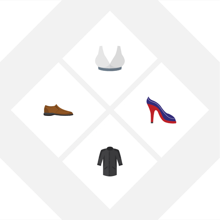 Flat Icon Garment Set Of Heeled Shoe, Uniform, Male Footware And Other Vector Objects. Also Includes Bra, Sport, Footware Elements.