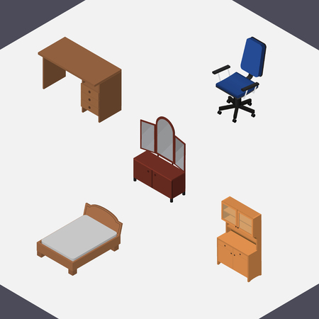 Isometric Furnishing Set Of Drawer, Office, Bedstead And Other Vector Objects. Also Includes Sideboard, Cupboard, Bedstead Elements.
