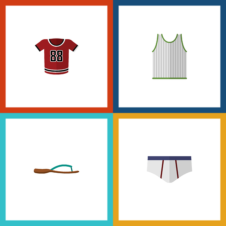 Flat Icon Garment Set Of Beach Sandal, T-Shirt, Underclothes Vector Objects. Also Includes Blouse, Underwear, Tank Elements. Çizim