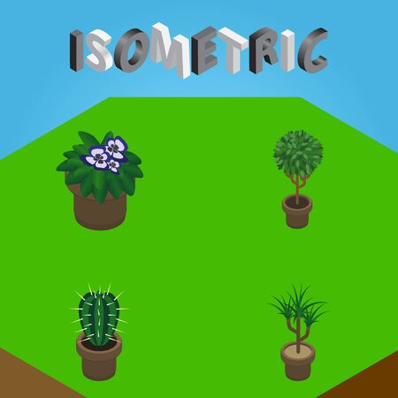 Isometric Houseplant Set Of Houseplant, Tree, Flowerpot And Other Vector Objects. Also Includes Flower, Flowerpot, Botany Elements. Illustration