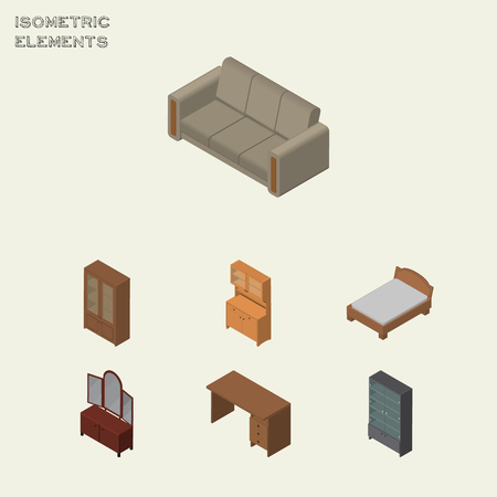 Isometric Furniture Set Of Cupboard, Couch, Cabinet And Other Vector Objects. Also Includes Table, Furniture, Sofa Elements. Illustration