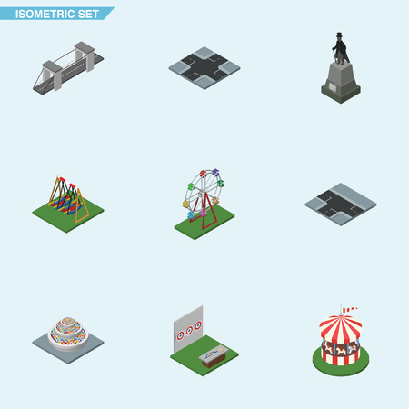 Isometric Urban Set Of Highway, Crossroad, Intersection And Other Vector Objects. Also Includes Horses, Highway, Swing Elements.