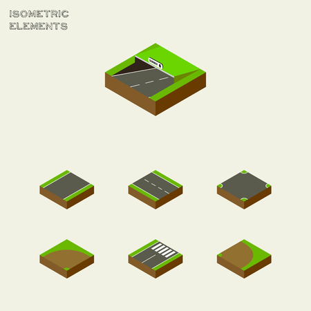 unilateral: Isometric Way Set Of Crossroad, Rotation, Sand Vector Objects. Also Includes Road, Underground, Footer Elements.