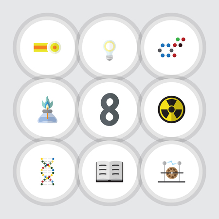 irradiation: Flat Icon Knowledge Set Of Electrical Engine, Molecule, Irradiation And Other Vector Objects. Also Includes Lecture, Molecule, Light Elements.