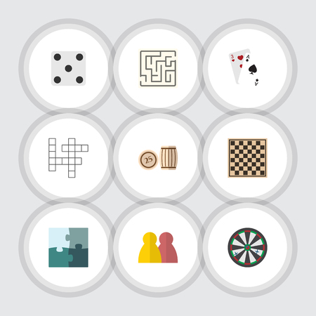 Flat Icon Play Set Of Labyrinth, Jigsaw, People And Other Vector Objects. Also Includes Backgammon, Table, Gambling Elements.