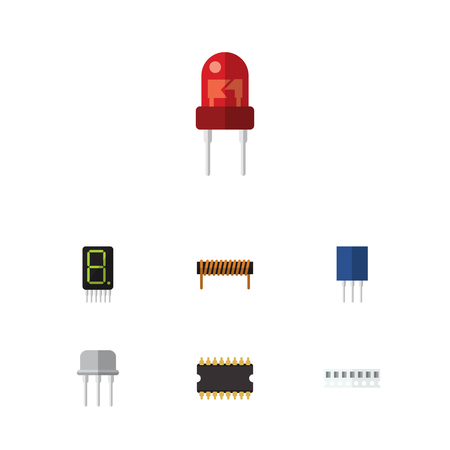 Flat Icon Electronics Set Of Bobbin, Recipient, Resist And Other Vector Objects. Also Includes Memory, Unit, Transistor Elements. Illustration