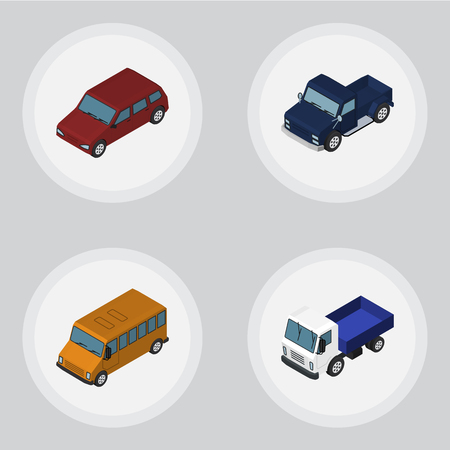 Isometric Automobile Set Of Lorry, Autobus, Car And Other Vector Objects. Also Includes Car, Truck, Drive Elements.