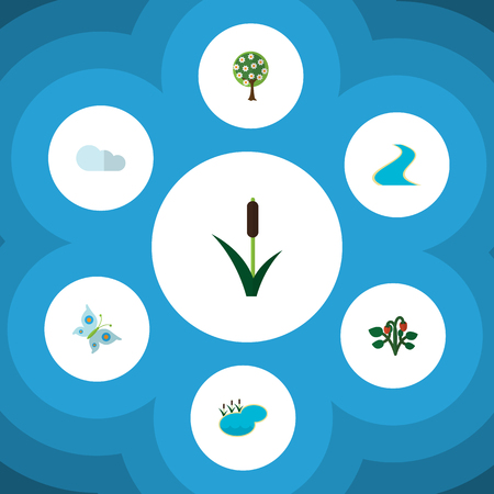 Flat Icon Nature Set Of Berry, Overcast, Monarch And Other Vector Objects. Also Includes Grass, Cloudy, Strawberry Elements. Illustration