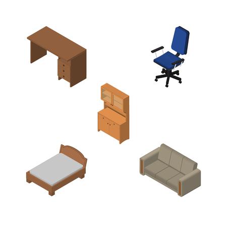 arredamento classico: Set di design isometrico di armadio, ufficio, divano e altri oggetti vettoriali. Include anche l'ufficio, il letto, gli elementi del divano.