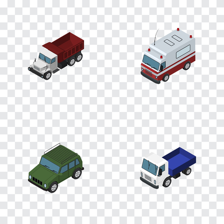 Isometric Transport Set Of Freight, Lorry, First-Aid And Other Vector Objects. Also Includes Freight, Suv, Armored Elements. Illustration