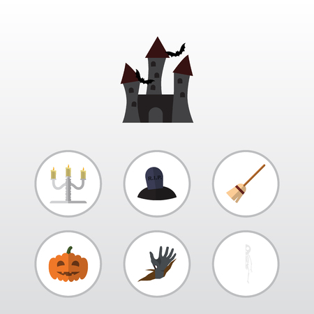 Flat Icon Celebrate Set Of Candlestick, Tomb, Fortress Vector Objects. Also Includes Tomb, Candle, Grave Elements. Illustration